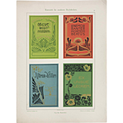 Art Nouveau Graphic Print c. 1904, Modern Book Design