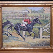 "Fine Original Oil Painting ""Lucky 13"" Horse Race by Listed VA Artist Eunice Clay Pri"