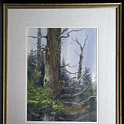 """""""Ontario Pines"""" 1968, Exceptional Wooded Landscape Painting by Western / Ohio Artist"""