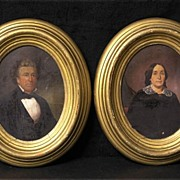 Fine Pair of Victorian Portraits, Distinguished Gentleman and Lady, in Antique Oval Frames c.