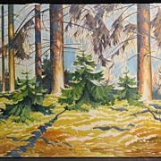 Impressive Original Oil on Canvas, Colorist Landscape Signed Voldby