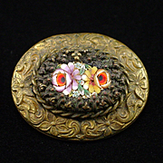 SOLD Very Early Unique Micro Mosaic Brooch Pin