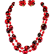 1950s Large Bold Red & Black Double Strand Lucite Necklace & Earrings