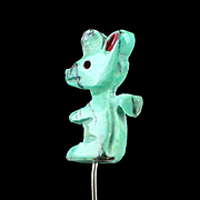 SALE Unique Early Carved Turquoise Fetish Squirrel Stick Pin