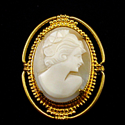 SALE Vintage Carved Shell Cameo Brooch Pin