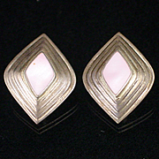 Unique Retro Sterling and Pink Mother of Pearl Clip Back Earrings