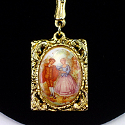 Beautiful Vintage Monet Romantic Porcelain Pendant Necklace