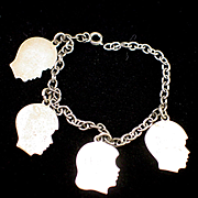 1950s Sterling Open Link Charm Bracelet with Four Sterling Silhouette Heads