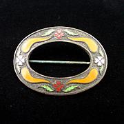 SALE Art Deco Large Genuine Cloisonne Enamel Brooch or Sash Pin