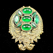 SALE Art Nouveau Sterling Button Co. Brass and Emerald Green Glass Fur Clip