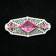 SOLD Beautiful Deco Fine Silver Filigree Rhinestone Brooch Pin