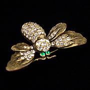 Retro Signed Capri Rhinestone Bug or Bee Brooch Pin