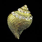 Retro 1990s KJL Rhinestone Conch Shell Pendant Brooch