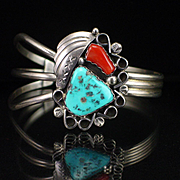 SOLD Large Navajo Signed RG Sterling Turquoise Coral Cuff Bracelet