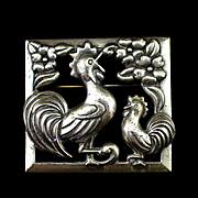 SALE Coro Sterling Framed Figural Chicken or Rooster Brooch Pin