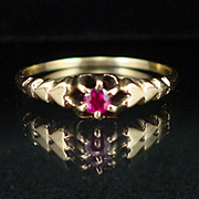 SALE Art Deco 14k Ruby Ring Size 7-1/2