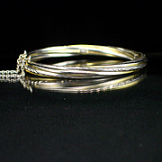 SALE Estate Heavy Sterling Twist Design Hinged Bangle Bracelet