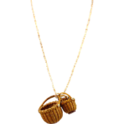 SOLD 1980s Woven Nantucket Nesting Baskets Pendant Necklace Signed Willer