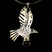 SALE Large Heavy Sterling & Onyx Eagle Pendant on Sterling Serpentine Chain