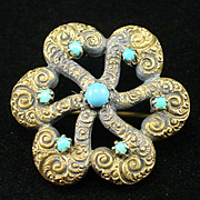 SALE PENDING Fabulous Victorian Love Knot Brooch with Turquoise and Repouse Design