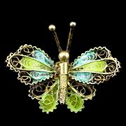 SALE Small 800 Silver Plique A Jour Enamel Butterfly Pin