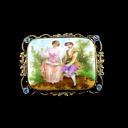 SOLD Art Deco Hand Painted Porcelain Romantic Couple Brooch with Brass & Rhinestone Frame