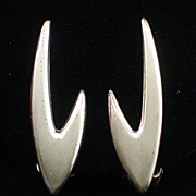 SALE Modernist Renoir Sauteur Sterling Boomerang Style Earrings