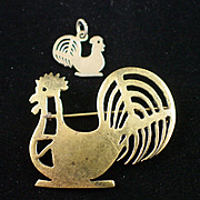 SALE Unique AARFAC Abby Aldrich Rockefeller Sterling Folk Art Rooster Brooch & Charm
