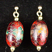 SALE Beautiful Vintage Red Cloisonne Floral Chandelier Earrings with 14k Posts
