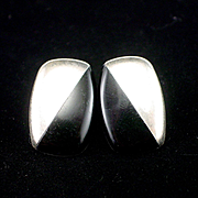 SALE Larger Mexican Retro Sterling Onyx Geometric Post Earrings for Pierced Ears