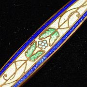 SALE Art Deco Long Guilloche Enamel on Copper Bar Pin