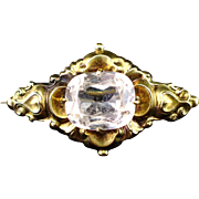 SALE Stunning 10k Repousse Victorian Brooch with Large Paste Stone