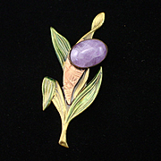 Unique Retro Bronze Enamel Large Amethyst Cabochon Flower Brooch Pin
