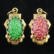 SALE Art Deco Two Sided Carved Carnelian and Chrysoprase Pendant Fob or Charm