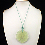 SALE Large Carved Jade Medallion Pendant on Silk Cord Necklace