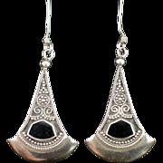 SALE Retro Long Sterling Onyx Chandelier Earrings with Hook for Pierced Ears