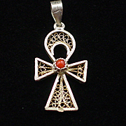 Early 800 Silver & Coral Ankh Cross Breath of Life Pendant or Charm