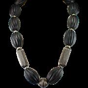 Unique Huge Bold Sterling Chain Strung Carved Wood Necklace