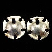 Vintage Modernist RLM Robert Lee Morris Sterling Sand Dollar Clip Earrings