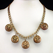 Art Deco Brass Bookchain Necklace with Large Open Work Dangling Balls