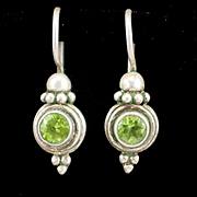 Vintage Sterling Peridot Dangle Earrings With Hook for Pierced Ears