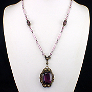 Signed Czech Amethyst Glass and Brass Necklace