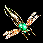 Beautiful Vintage Signed ART Dragonfly Rhinestone Coral Bead and Seed Pearl Brooch Pin