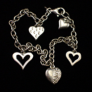 SALE PENDING Vintage Sterling Charm Bracelet with Five Puffy Heart Charms