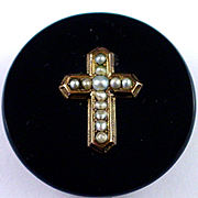 Fabulous Victorian 14k Onyx Seed Pearl Mourning Pin with Cross Design