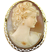 Art Deco 14k High Relief Carved Shell Cameo Pendant Brooch