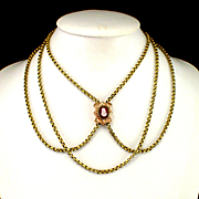 "Large Heavy Victorian 56"" Belcher Chain with Hard Stone Cameo Slide"