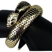 Large Bold Gold Toned Whiting & Davis Double Coil Serpent or Snake Bracelet
