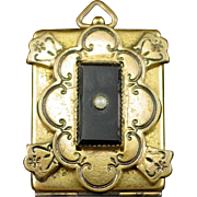 Unique Large Victorian Gilt over Brass Locket with Onyx and Seed Pearl and Enamel Tracery