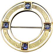 Dated 1914 Edwardian 14k and Blue Topaz Circle Brooch Pin